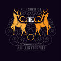 Letter E Between Deers And Lines Pattern Stock Photography - 57126882
