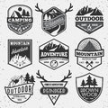 Set Of Monochrome Outdoor Camping Adventure And Mountain Badge Royalty Free Stock Photo - 57130995