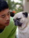 Pug And Boy Royalty Free Stock Photography - 57134137
