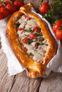 Hot Turkish Pizza And Ingredients Close-up On A Table. Vertical Stock Image - 57135161