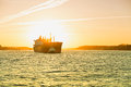 Hamburg, Fright Ship Is Towed By Tug Boat, Elbe Stock Photography - 57180372