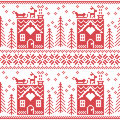 Scandinavian Nordic Christmas Seamless Pattern With Ginger Bread House, Stockings, Gloves, Reindeer, Snow, Snowflakes, Tree, Xmas Stock Photos - 57185963