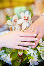 Two Hands With Wedding Rings On The Flower Bouquet Royalty Free Stock Images - 5725869