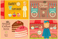 Set Of Cakes Mini Posters Royalty Free Stock Photos - 57220218