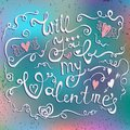 Happy Valentines Day Typographical Holiday Card On Blurred Background. Stock Image - 57239211
