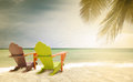 Panorama Of Colorful Lounge Chairs At A Tropical Paradise Beach In Miami Florida Royalty Free Stock Images - 57240579