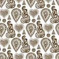 Henna Seamless Pattern With Lace Element And Hand-drawn Jewelry Crystal Stone. Stock Image - 57242761