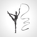 Creative Silhouette Of Gymnastic Girl. Art Stock Photos - 57258793