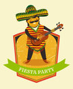Mexican Fiesta Party Invitation With Mexican Man Playing The Guitar In A Sombrero. Hand Drawn Vector Illustration Poster. Royalty Free Stock Photography - 57260347