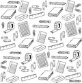 Back To School Elements Pattern Doodle Illustration Royalty Free Stock Images - 57260559