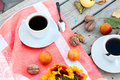 Breakfast Autumn Afternoon Tea, Nuts, Apples And Plums Stock Images - 57275154