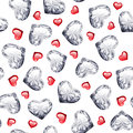 Ruby And Diamond Gem Hearts Seamless Pattern Stock Images - 57275504