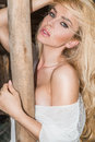 Beautiful Sexy Woman With Long Curly Blond Hair, Green Eyes Pretty Sweet And Sexy Full Lips On The Wild West Royalty Free Stock Photo - 57302275
