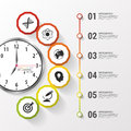 Infographic. Business Clock. Colorful Circle With Icons. Vector Illustration Stock Photography - 57302312