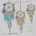 Beautiful Vector Illustration With Dream Catchers Royalty Free Stock Photo - 57302645