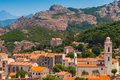 Small Corsican Village Landscape, Old Piana Stock Images - 57329414