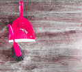 Small Whisk Broom And Dustpan On Wooden Floor Royalty Free Stock Photography - 57335207