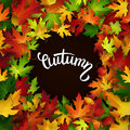 Autumn Card, Colorful Leaves And Handwritten Lettering Stock Photos - 57349383