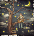 The Boy Sits On Tree And Plays  On   Guitar Stock Images - 57353014