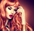 Beauty Woman With Healthy Long Curly Red Hair Stock Photos - 57357513