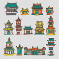 Set Of Colorful Vector Asian Temples And Manor Houses Royalty Free Stock Photography - 57369197