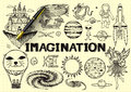 Hand Drawn About Imagination On Yellow Paper With 3d Fountain Pen Royalty Free Stock Photography - 57394827