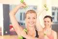 Pair Of Women Doing Weights Fitness Royalty Free Stock Photography - 57396107