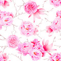 Delicate Peonies And Camellia Floral Seamless Vector Print Royalty Free Stock Photography - 57413317