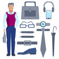 Cartoon Businessman With Set Of Office Accessories Stock Image - 57415261