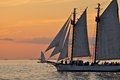Sunset Sail Boat Schooner Tall Ship Royalty Free Stock Photo - 57420445