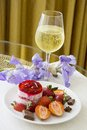Champagne And Strawberry Dessert Stock Photography - 57420622