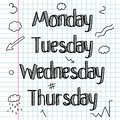 Doodle Sketchy. A Set Of Signs, Words, Days Of The Week.Hand Drawing. Bar. Line Drawing.Doodle Lettering. Royalty Free Stock Images - 57430289