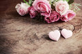 Heart Shape With Pink Rose Flower On Wooden Table Stock Photo - 57431470