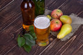 Apple And Pear Cider Glass And Bottles With Fruits. Royalty Free Stock Image - 57439506