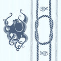 Nautical Card With Frame, Marine Knots, Ropes, Octopus And Fish. Stock Photography - 57448532