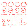 Vector Red Highlight Elements. Circles, Arrows Stock Photos - 57478633