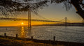 Lisbon Bridge Over Tagus River Sunset Seen From Almada Stock Image - 57484481
