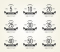 Set Of Anniversary Signs, Symbols. Five, Ten, Twenty, Thirty, Forty, Fifty Years Jubilee Design Elements Collection. Royalty Free Stock Photo - 57485275
