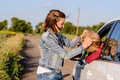 Two Women Fighting At The Roadside Stock Photo - 57485410