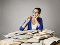Student Woman Thinking Open Books, Pondering Girl Glasses Royalty Free Stock Photo - 57489975