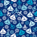 Cartoon Seamless Pattern With Sail Boats, Anchors And Stylized S Royalty Free Stock Photography - 57492837