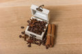 Coffee Beans In A Box Vintage Stock Photo - 57544950