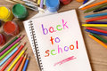 Back To School Written In An Open Book, Desk, Pencils, Classroom Royalty Free Stock Images - 57559069