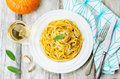 Pumpkin Pasta With Parmesan Cheese And Sage Royalty Free Stock Photography - 57588687