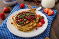 Cinnamon Pancakes With Chocolate Sauce And Berries Royalty Free Stock Images - 57588979