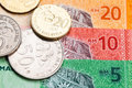 Closeup Of Malaysia Ringgit Currency Notes And Coins Royalty Free Stock Images - 57609469