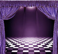 Interior With Violet Curtains And Checkerboard Floor Stock Photography - 57611972