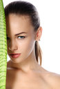 Close-up Portrait Of A Beautiful Healthy Woman With Perfect Skin Royalty Free Stock Images - 57616029