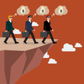 Businessmans Walk Straight Into The Abyss Royalty Free Stock Image - 57625546