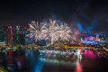 Singapore 50 Years National Day Dress Rehearsal Marina Bay Fireworks Royalty Free Stock Images - 57626899